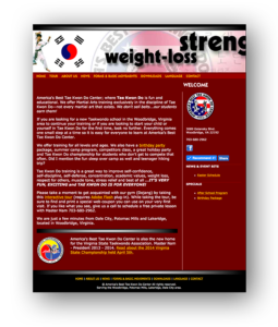 Graphic showing old website of America's Best Tae Kwon Do Center